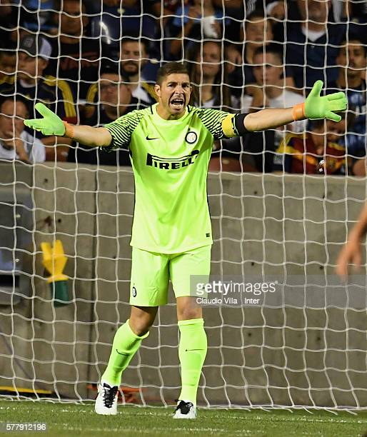 Juan Pablo Carrizo of FC Internazionale in action during the friendly match played between Real Salt Lake and FC Internazionale at Rio Tinto Stadium...