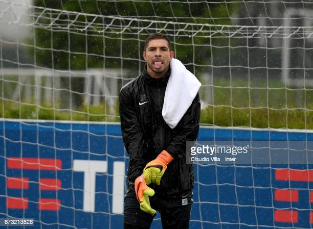 Juan Pablo Carrizo of FC Internazionale looks on during FC Internazionale training session at Suning Training Center at Appiano Gentile on April 26...