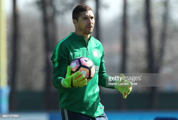 Juan Pablo Carrizo of FC Internazionale looks on during the FC Internazionale training session at the club's training ground Suning Training Center...