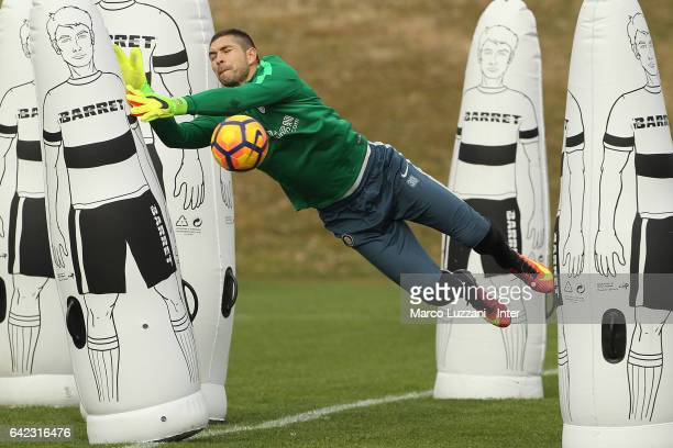 Juan Pablo Carrizo of FC Internazionale Milano dives to save a shot during the FC Internazionale training session at the club's training ground 'La...