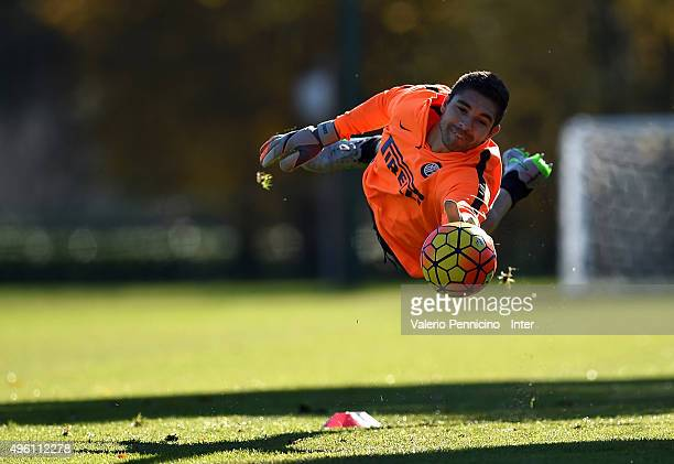 Juan Pablo Carrizo of FC Internazionale Milano in action during an FC Internazionale training session at the club's training ground at Appiano...