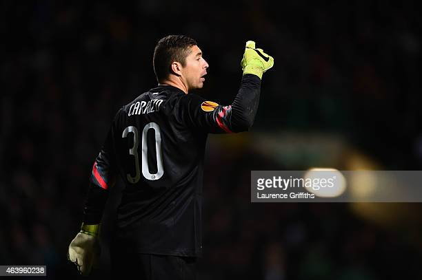 Juan Pablo Carrizo of FC Internazionale Milano in action during the UEFA Europa League Round of 32 match between Celtic and FC Internazionale Milano...