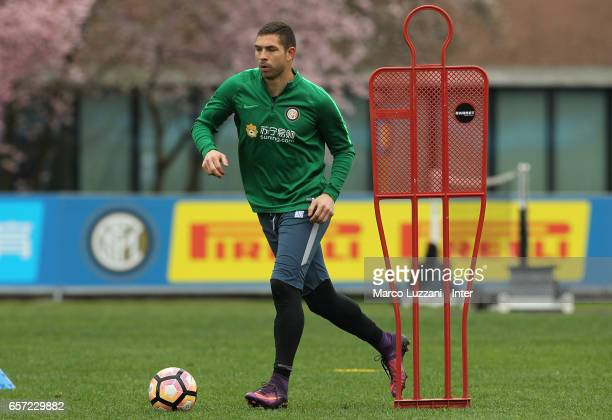 Juan Pablo Carrizo of FC Internazionale Milano in action during the FC Internazionale training session at the club's training ground Suning Training...