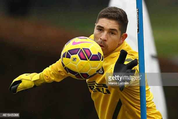 Juan Pablo Carrizo of FC Internazionale Milano makes a save during FC Internazionale training session at the club's training ground on January 22...