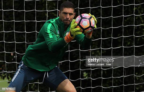 Juan Pablo Carrizo of FC Internazionale Milano makes a save during the FC Internazionale training session at the club's training ground 'La Pinetina'...