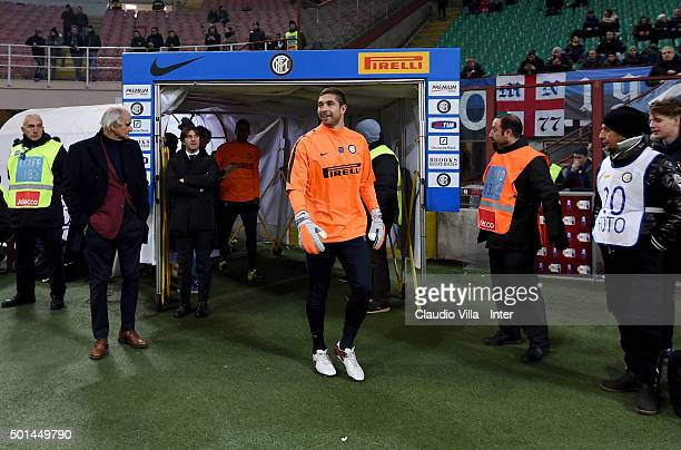 Juan Pablo Carrizo of FC Internazionale prior the TIM Cup match between FC Internazionale Milano and Cagliari Calcio at Stadio Giuseppe Meazza on...