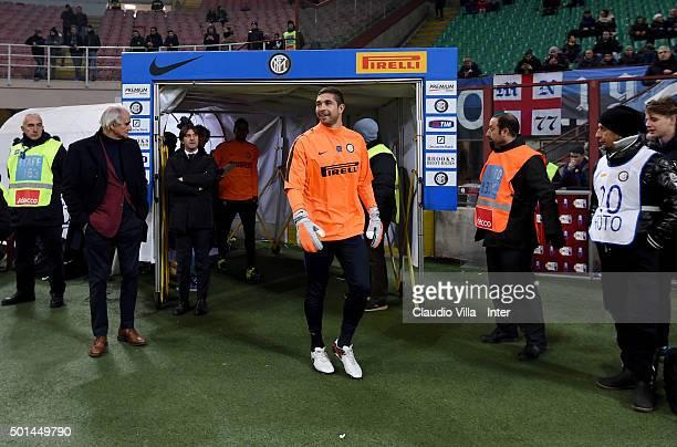 Juan Pablo Carrizo of FC Internazionale prior the TIM Cup match between FC Internazionale Milano and Cagliari Calcio at Stadio Giuseppe Meazza on...