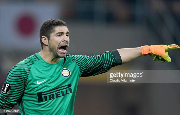 Juan Pablo Carrizo of FC Internazionale reacts during the UEFA Europa League match between FC Internazionale Milano and AC Sparta Praha at Stadio...
