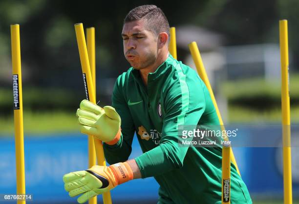 Juan Pablo Carrizo of FC Internazionale trains during the FC Internazionale training session at the club's training ground Suning Training Center in...