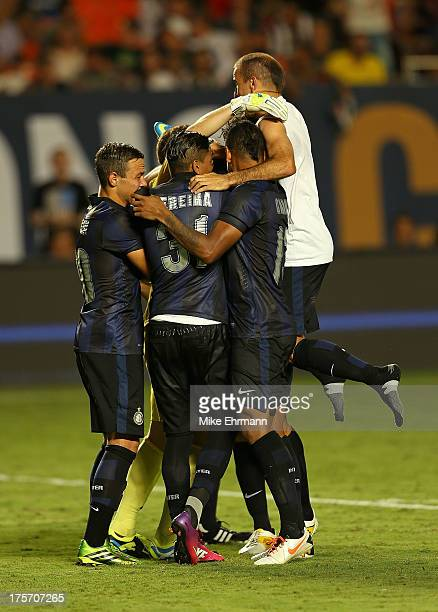 Juan Pablo Carrizo of Inter Milan celebrates with temammates after winning an International Champions Cup Seventh Place Match against the Juventus at...