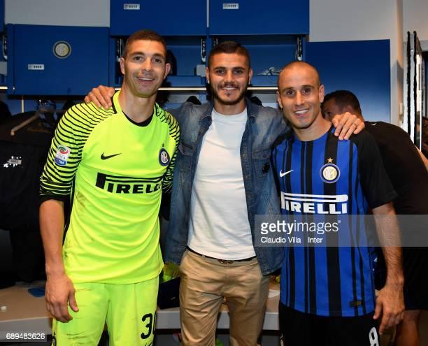 Juan Pablo Carrizo Rodrigo Sebastian Palacio and Mauro Icardi of FC Internazionale poses at the end the Serie A match between FC Internazionale and...