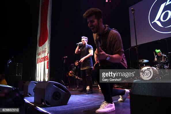 Juan Pablo Casillas and Hector Rodriguez of the band LOS 5 perform on stage during Z100 CocaCola All Access Lounge at Z100's Jingle Ball 2016...
