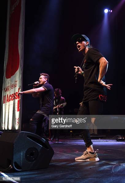 Juan Pablo Casillas and Matt Rey of LOS 5 perform at Z100 CocaCola All Access Lounge at Z100's Jingle Ball 2016 Presented by Capital One preshow at...