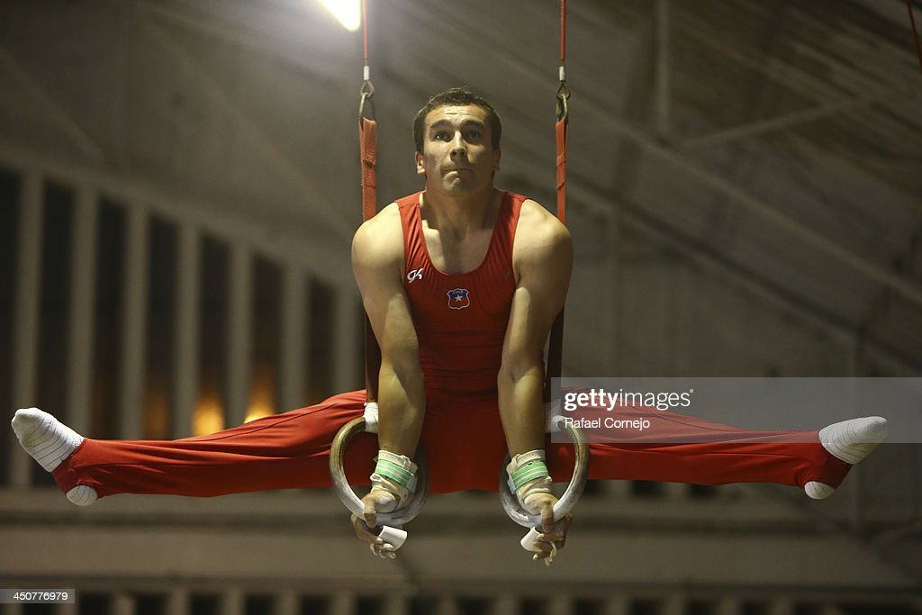 Juan Pablo Gonzales of Chile during men's gymnastics competition as part of the XVII Bolivarian Games Trujillo 2013 on November 18, 2013 in Lima, Peru.