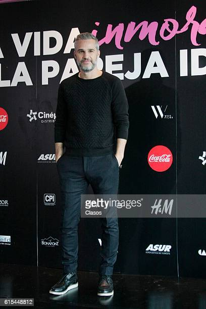 Juan Pablo Medina poses during the presentation of the movie 'La Vida Inmoral de la Pareja Ideal' on October 17 Mexico City Mexico