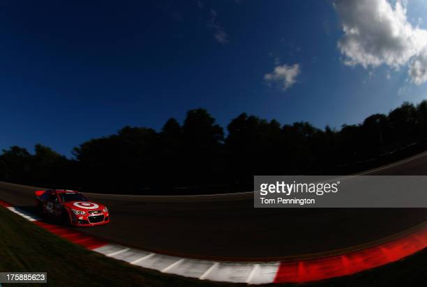Juan Pablo Montoya driver of the Target Chevrolet drives during practice for the NASCAR Sprint Cup Series CheezIt 355 at Watkins Glen International...