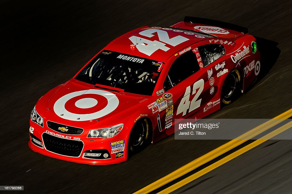 Juan Pablo Montoya, driver of the #42 Target Chevrolet, during practice for the NASCAR Sprint Cup Series Daytona 500 at Daytona International Speedway on February 16, 2013 in Daytona Beach, Florida