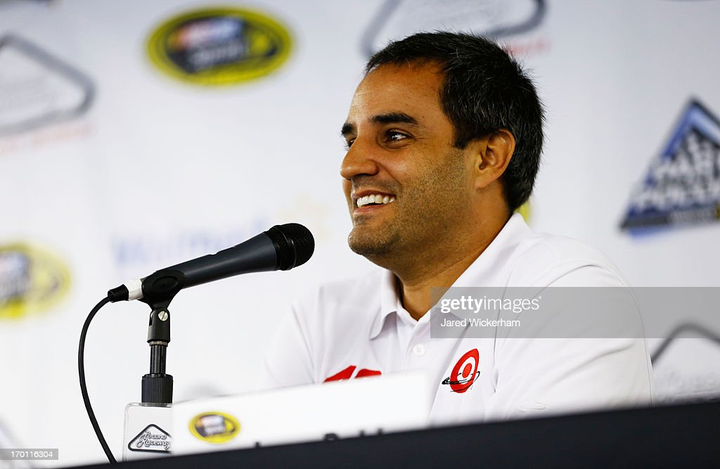 <a gi-track='captionPersonalityLinkClicked' href=/galleries/search?phrase=Juan+Pablo+Montoya&family=editorial&specificpeople=202004 ng-click='$event.stopPropagation()'>Juan Pablo Montoya</a>, driver of the #42 Target Chevrolet, speaks to the media during a rain delay at Pocono Raceway on June 7, 2013 in Long Pond, Pennsylvania.
