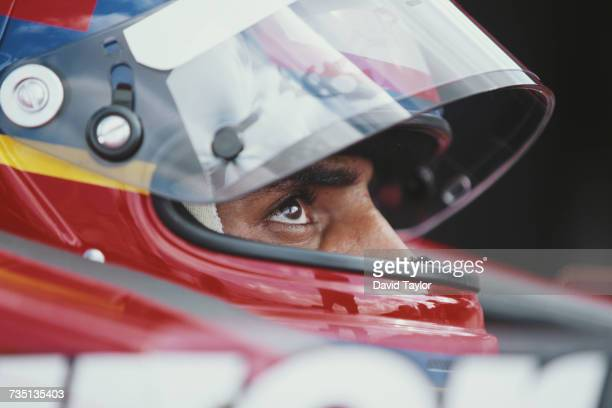 Juan Pablo Montoya of Colombia driver of the Target Chip Ganassi Racing Reynard 99i Honda during testing for the Championship Auto Racing Teams 1999...