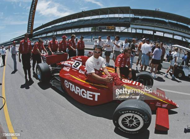 Juan Pablo Montoya of Colombia sits aboard the Target Chip Ganassi Racing GForce GF05a Oldsmobile before the start of the 2000 Indy Racing League...