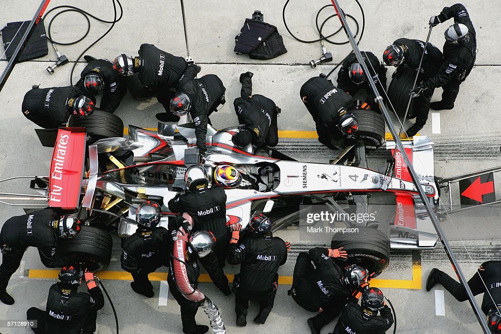 Juan Pablo Montoya of Columbia and McLaren-Mercedes makes a pit stop during the Malaysian Formula One Grand Prix at the Sepang Circuit on March 19, 2006, in Kuala Lumpur, Malaysia.
