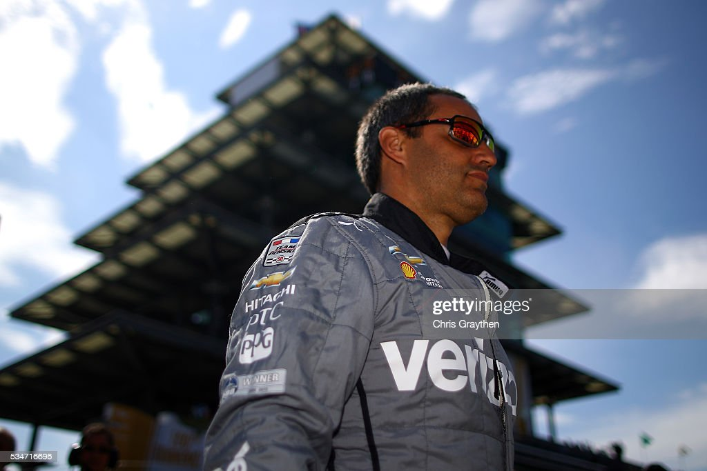Juan Pablo Montoya of Columbia, driver of the #2 Verizon Team Penske Chevrolet prepares to practice on Carb Day ahead of the 100th running of the Indianapolis 500 at Indianapolis Motorspeedway on May 27, 2016 in Indianapolis, Indiana.