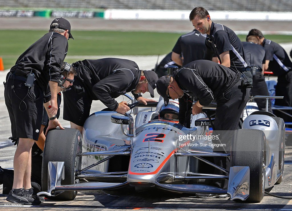 Juan Pablo Montoya's Team Penske crew makes adjustments on pit row during practice sessions at Texas Motor Speedway on Tuesday, May 3, 2016, ahead of the Firestone 600 on June 11.