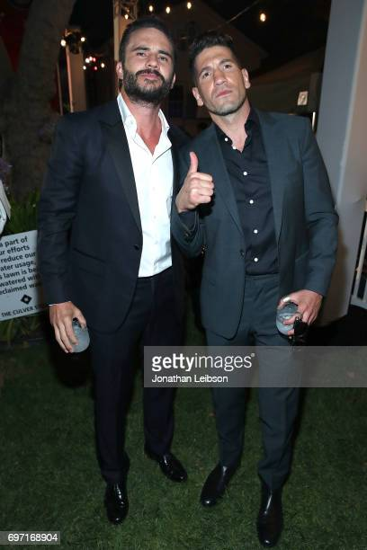 Juan Pablo Raba and Jon Bernthal attend the ATT And Saban Films Present The LAFF Gala Premiere Of Shot Caller at ArcLight Cinemas on June 17 2017 in...