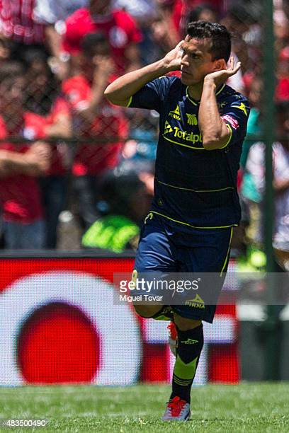 Juan Pablo Rodriguez of Morelia celebrates after scoring after scoring the first goal of his team during a 3rd round match between Toluca and Morelia...