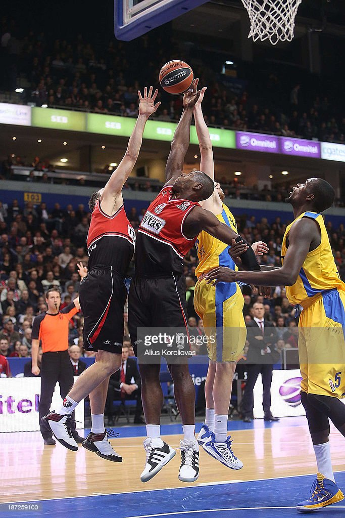 Juan Palacios, #9 of Lietuvos Rytas Vilnius in action during the 2013-2014 Turkish Airlines Euroleague Regular Season Date 4 game between Lietuvos Rytas Vilnius v Maccabi Electra Tel Aviv at Siemens Arena on November 7, 2013 in Vilnius, Lithuania.
