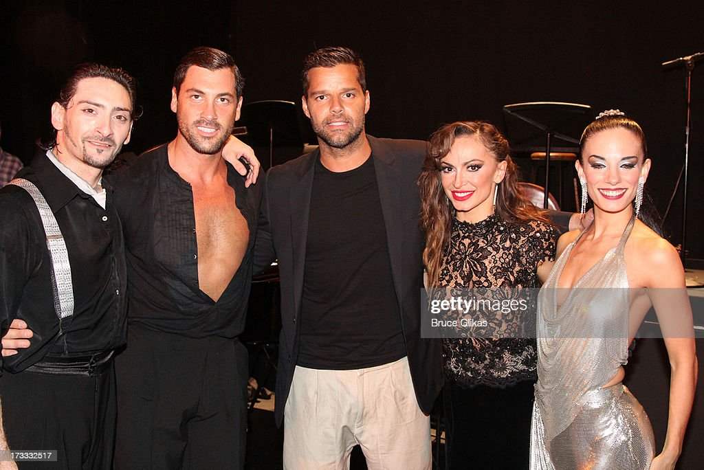 Juan Paulo Horvath, <a gi-track='captionPersonalityLinkClicked' href=/galleries/search?phrase=Maksim+Chmerkovskiy&family=editorial&specificpeople=4251170 ng-click='$event.stopPropagation()'>Maksim Chmerkovskiy</a>, <a gi-track='captionPersonalityLinkClicked' href=/galleries/search?phrase=Ricky+Martin&family=editorial&specificpeople=160450 ng-click='$event.stopPropagation()'>Ricky Martin</a>, <a gi-track='captionPersonalityLinkClicked' href=/galleries/search?phrase=Karina+Smirnoff&family=editorial&specificpeople=4029232 ng-click='$event.stopPropagation()'>Karina Smirnoff</a> and Victoria Galoto pose backstage at the Argentinian dance sensation 'Forever Tango' on Broadway at The Walter Kerr Theater on July 11, 2013 in New York City.