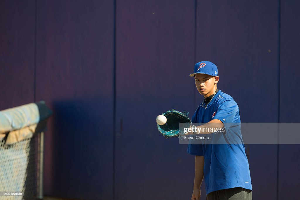 Juan Paulo Macasaet # 20 of Team Philippines throws in the bullpen during the workout for the World Baseball Classic Qualifier at Blacktown International Sportspark on Tuesday, February 9, 2016 in Sydney, Australia.