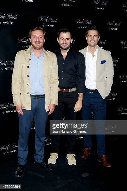Juan Pena Emiliano Suarez and Curi Gallardo attend to the inauguration of the 'Punk Bach Terrace' at Punk Bach on June 17 2015 in Madrid Spain
