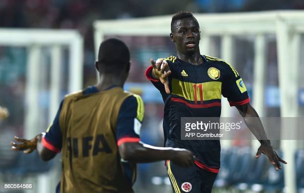 Juan Penaloza of Colombia celebrates after scoring a goal during the group stage football match between USA and Colombia in the FIFA U17 World Cup at...