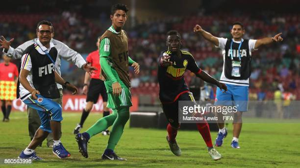 Juan Penaloza of Colombia celebrates his goal after he scores from a free kick during the FIFA U17 World Cup India 2017 group B match between USA and...