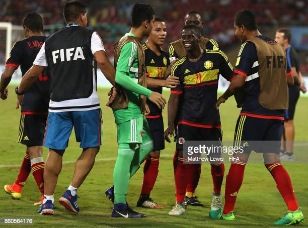 Juan Penaloza of Colombia celebrates his goal with team mates after he scores from a free kick during the FIFA U17 World Cup India 2017 group B match...