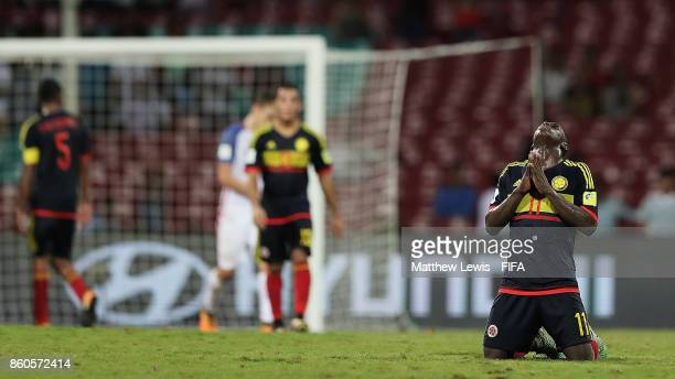 Juan Penaloza of Colombia celebrates his teams win over the USA during the FIFA U17 World Cup India 2017 group B match between USA and Colombia at Dr...