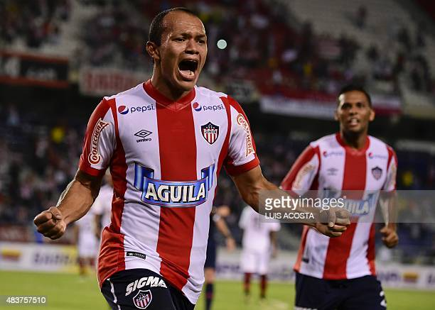 Juan Perez of Colombia´s Junior celebrate after scoring against Peru's Melgar during their 2015 Sudamericana Cup football match held at Metropolitano...