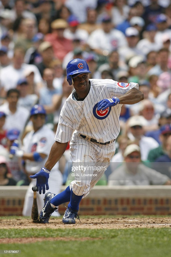 <a gi-track='captionPersonalityLinkClicked' href=/galleries/search?phrase=Juan+Pierre&family=editorial&specificpeople=202961 ng-click='$event.stopPropagation()'>Juan Pierre</a> of the Cubs at the plate during action between the Atlanta Braves and Chicago Cubs at Wrigley Field in Chicago, Illinois on May 27, 2006. Atlanta won 2-1.