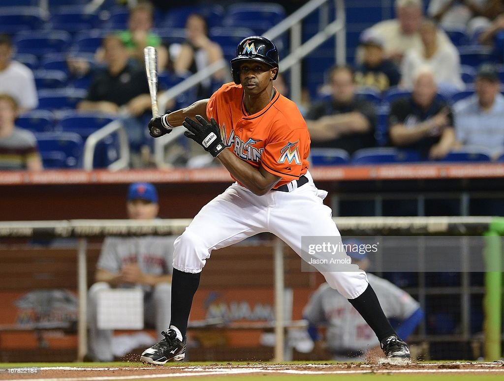 Juan Pierre #9 of the Miami Marlins hits during a game against the New York Mets at Marlins Park on April 30, 2013 in Miami, Florida.