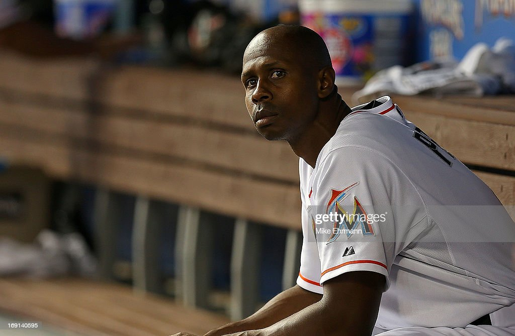 <a gi-track='captionPersonalityLinkClicked' href=/galleries/search?phrase=Juan+Pierre&family=editorial&specificpeople=202961 ng-click='$event.stopPropagation()'>Juan Pierre</a> #9 of the Miami Marlins looks on during a game against the Philadelphia Phillies at Marlins Park on May 20, 2013 in Miami, Florida.
