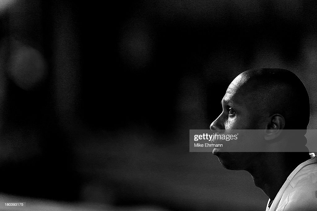 <a gi-track='captionPersonalityLinkClicked' href=/galleries/search?phrase=Juan+Pierre&family=editorial&specificpeople=202961 ng-click='$event.stopPropagation()'>Juan Pierre</a> #9 of the Miami Marlins looks on during a game against the Atlanta Braves at Marlins Park on September 12, 2013 in Miami, Florida.