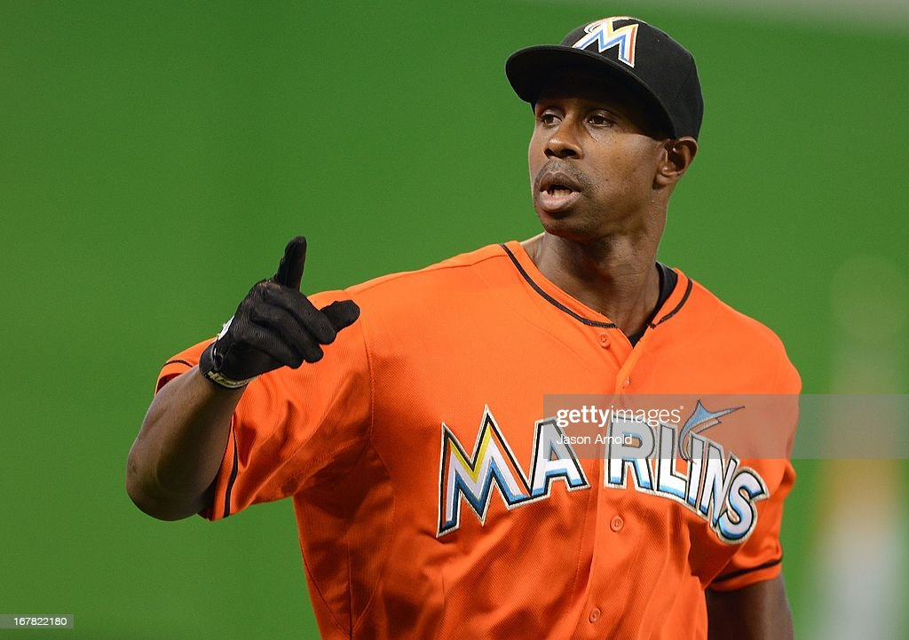 Juan Pierre #9 of the Miami Marlins point to the crowd during game against the New York Mets at Marlins Park on April 30, 2013 in Miami, Florida.