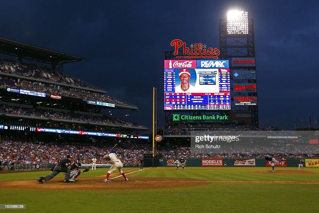 <a gi-track='captionPersonalityLinkClicked' href=/galleries/search?phrase=Juan+Pierre&family=editorial&specificpeople=202961 ng-click='$event.stopPropagation()'>Juan Pierre</a> #10 of the Philadelphia Phillies bats in the eighth inning against the Atlanta Braves during a MLB baseball game on September 22, 2012 at Citizens Bank Park in Philadelphia, Pennsylvania. The Braves defeated the Phillies 8-2.
