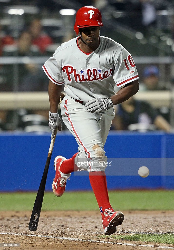 <a gi-track='captionPersonalityLinkClicked' href=/galleries/search?phrase=Juan+Pierre&family=editorial&specificpeople=202961 ng-click='$event.stopPropagation()'>Juan Pierre</a> #10 of the Philadelphia Phillies runs to first base against the New York Mets at Citi Field on September 20, 2012 in the Flushing neighborhood of the Queens borough of New York City.