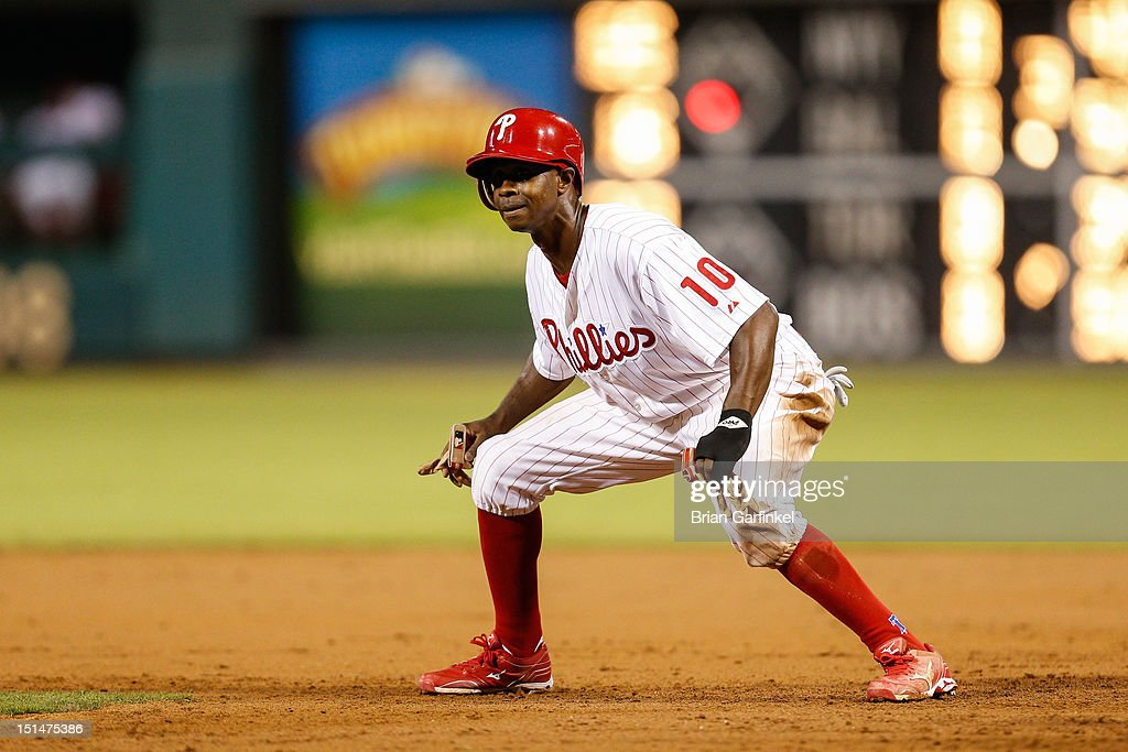 <a gi-track='captionPersonalityLinkClicked' href=/galleries/search?phrase=Juan+Pierre&family=editorial&specificpeople=202961 ng-click='$event.stopPropagation()'>Juan Pierre</a> #10 of the Philadelphia Phillies takes a lead off of first base in the third inning of the game against the Colorado Rockies at Citizens Bank Park on September 7, 2012 in Philadelphia, Pennsylvania. The Phillies won 3-2.