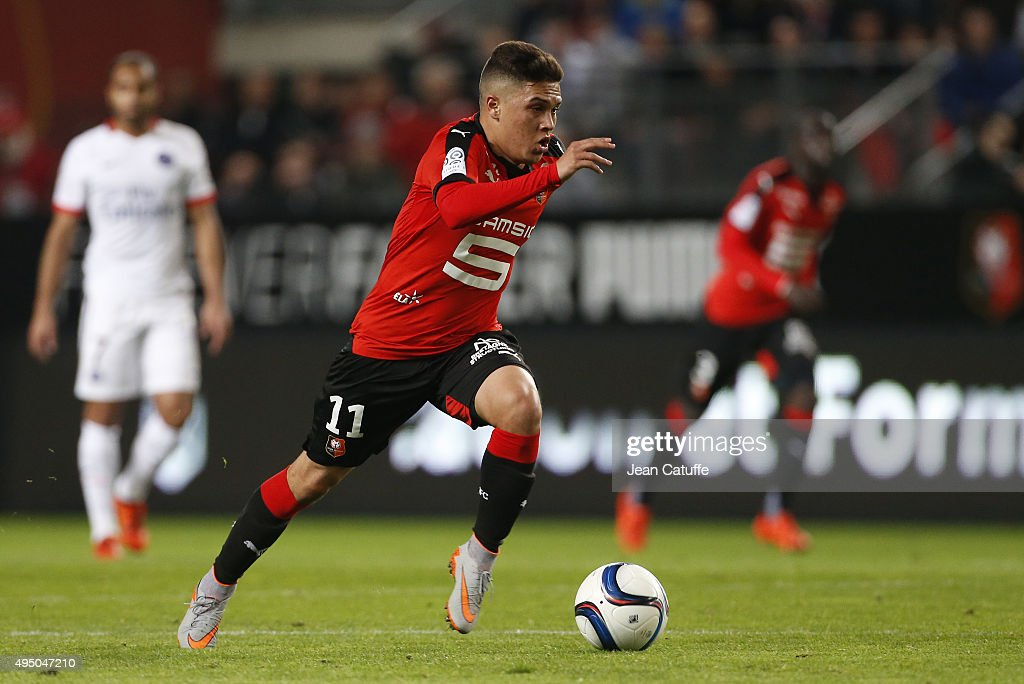 Juan Quintero of Rennes in action during the French Ligue 1 match between Stade Rennais and Paris SaintGermain at Roazhon Park stadium on October 30...