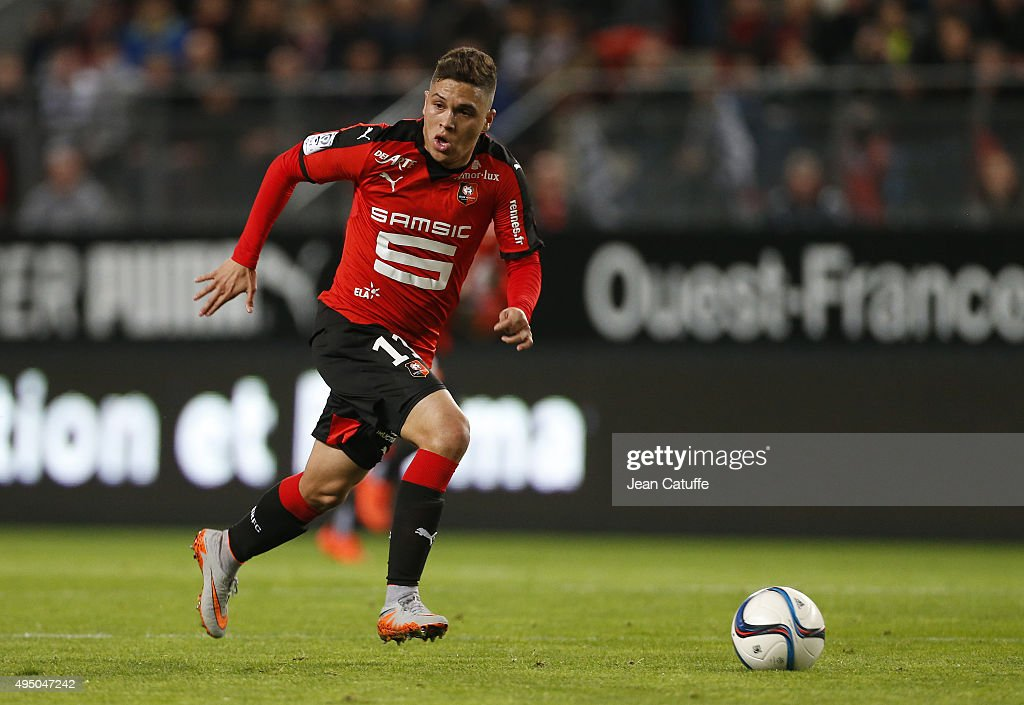 Juan Quintero of Rennes in action during the French Ligue 1 match between Stade Rennais (Rennes) and Paris Saint-Germain at Roazhon Park stadium on October 30, 2015 in Rennes, France.