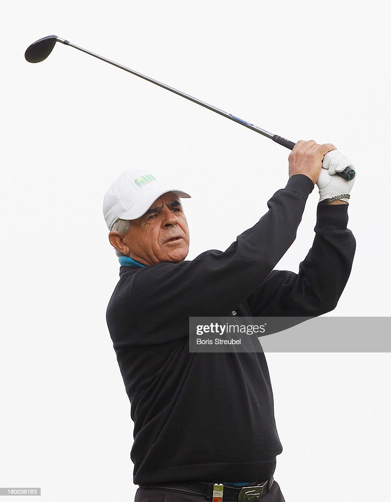 Juan Quiros of Spain hits a drive during the final round on day three of the WINSTONgolf Senior Open played at WINSTONgolf on September 8, 2013 in Schwerin, Germany.