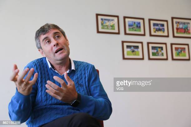 Juan Ramon Lopez Caro head coach of Dalian Yifang FC receives an interview on October 16 2017 in Dalian Liaoning Province of China